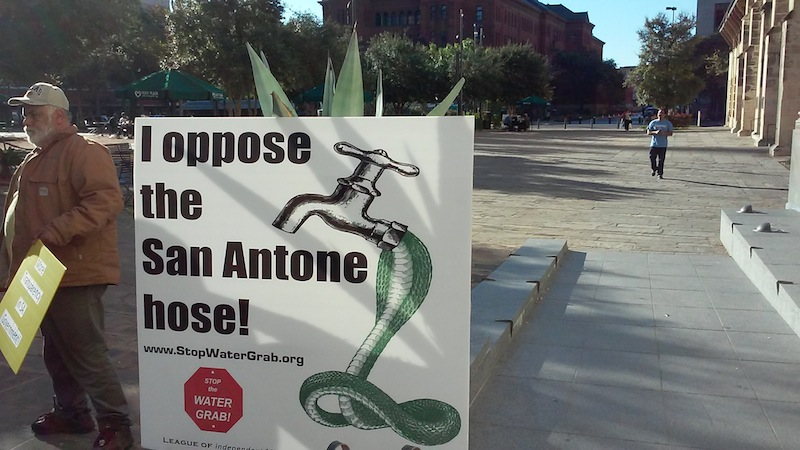 A sign outside City Council Chambers in opposition to the Vista Ridge project. Photo by Edmond Ortiz.