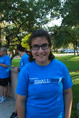 Olivia in 2012 at the first San Antonio One Small Step walk for the FPWR. Photo by Sergio Viroslav.