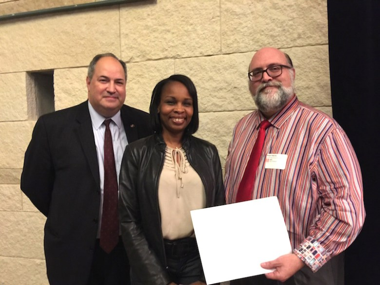 Gabriel Durand-Hollis, FAIA, principal of DHR Architects (left) and designer Robert Moritz accept the 2015 Mayor's Choice Award from Mayor Ivy Taylor. Photo Courtesy of American Institute of Architects-San Antonio.