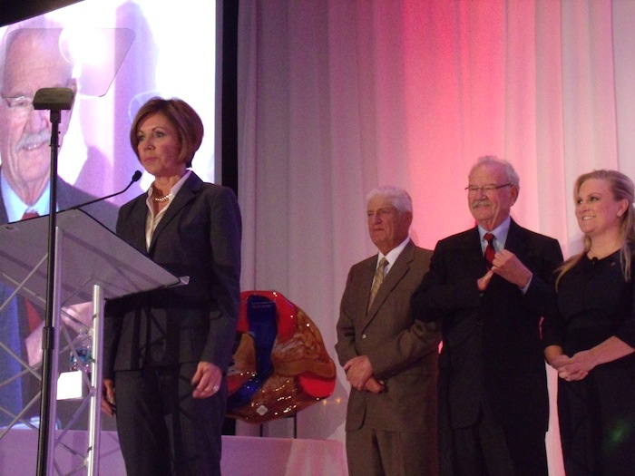City Manager Sheryl Sculley accepts the Robert H .H. Hugman Award at the San Antonio Convention and Visitors Bureau annual meeting on Tuesday, Nov. 3, 2015, at the Henry B. Gonzalez Convention Center. Photo by Edmond Ortiz.