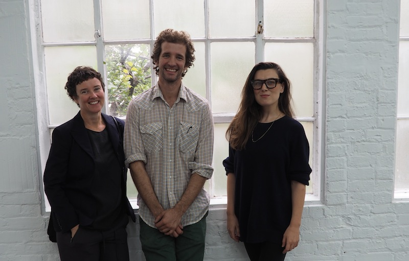 2014-2015 Artpace Residents (from left) Marie Lorenz, Larry Bamburg, Cally Spooner. Photo by Riley Robinson.