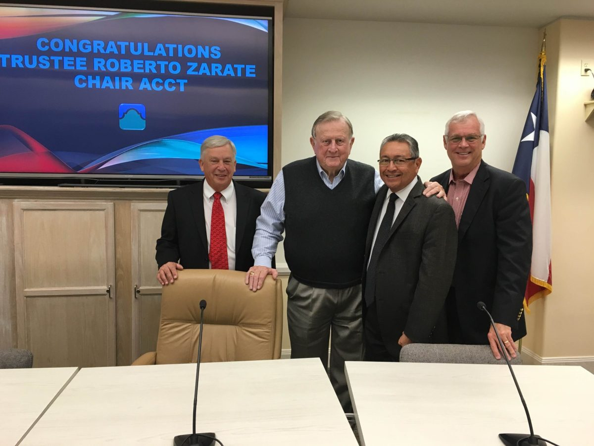 Dr. Gene Sprague, Red McCombs, Roberto Zárate, and Bruce Leslie celebrate Zárate's election to chair of the Association of Community College Trustees. Photo by Bekah McNeel.