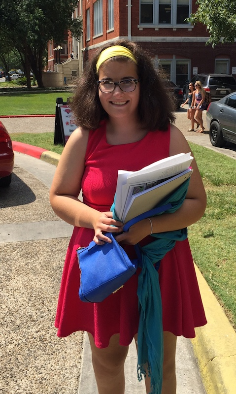 Olivia's first day of college at the University of the Incarnate Word. Photo by Alice Viroslav.