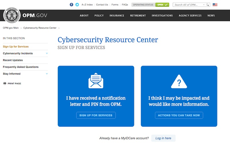 Screenshot of U.S. Office of Personnel Office's cybersecurity page.
