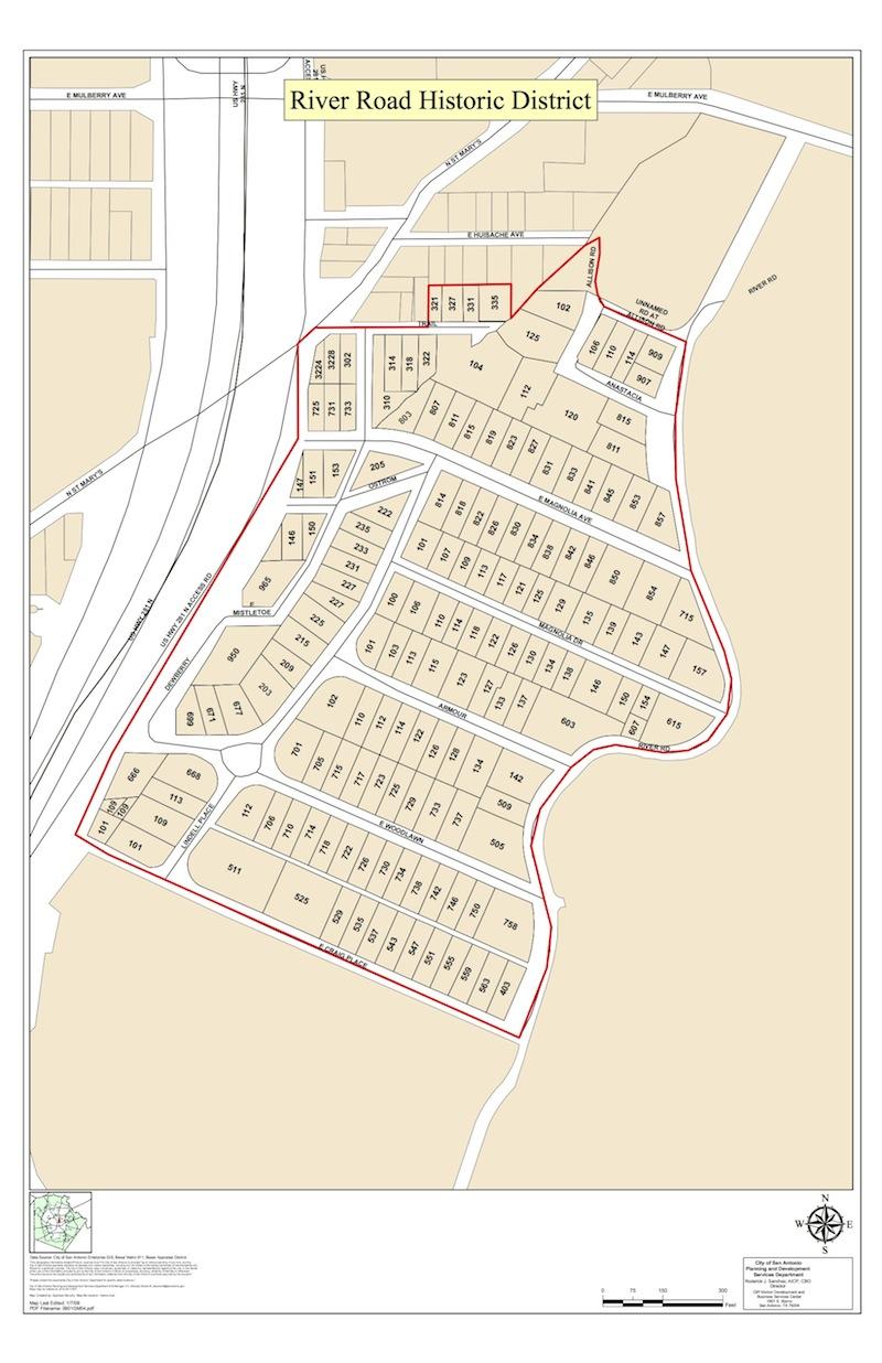 River Road Historic Distric Boundaries. Image courtesy of the City of San Antonio.