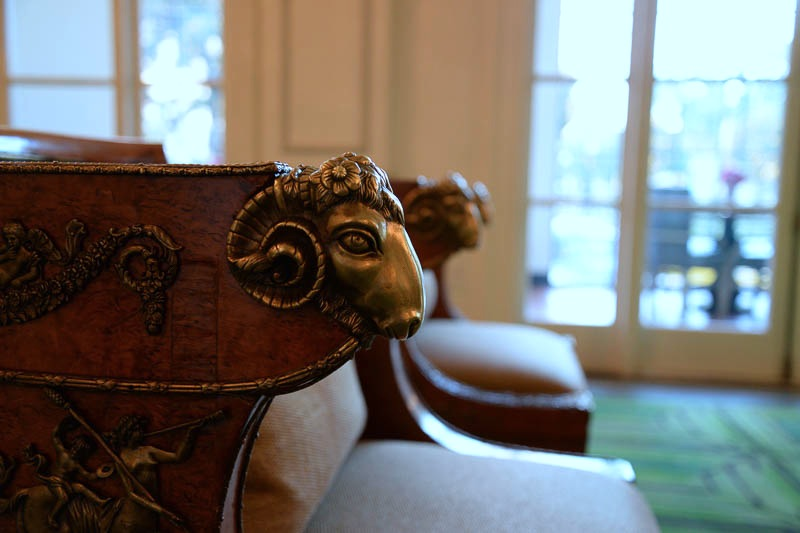 A close-up of a chair in Peacock Alley. Photo by Annette Crawford.