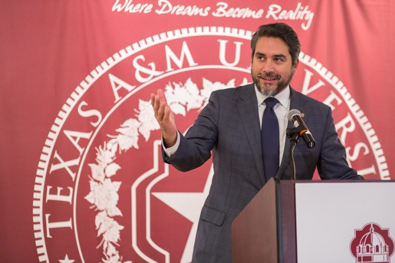 Councilman Roberto Treviño speaks at the Institute of Texan Cultures. Photo by Scott Ball.