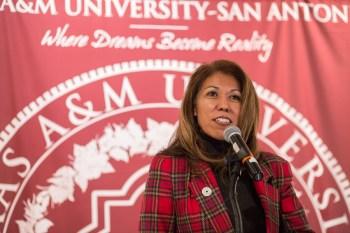 Texas A&M University - San Antonio President Dr. Cynthia Teniente-Matson gives remarks. Photo by Scott Ball.