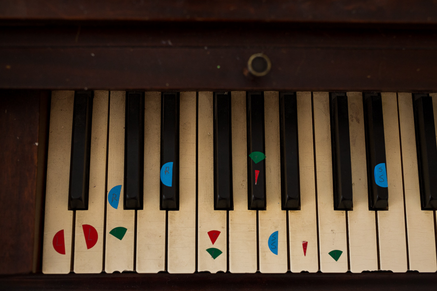 A piano sits in one of the classrooms at The Circle School. Photo by Scott Ball.