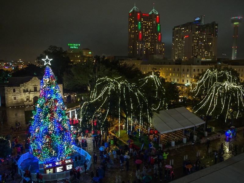 The lit tree at Alamo Plaza. Photo by Scott Ball.