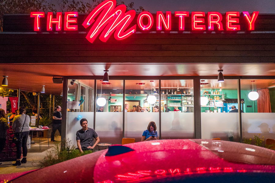 Patrons gather inside and out of The Monterey on it's last dinner service. Photo by Scott Ball.