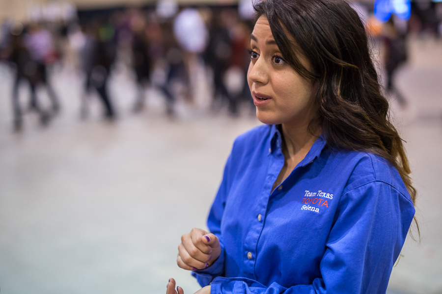Team Texas Toyota volunteer Selena Flores talks with reporter Lea Thompson during the CORE4 STEM Expo. Photo by Scott Ball.