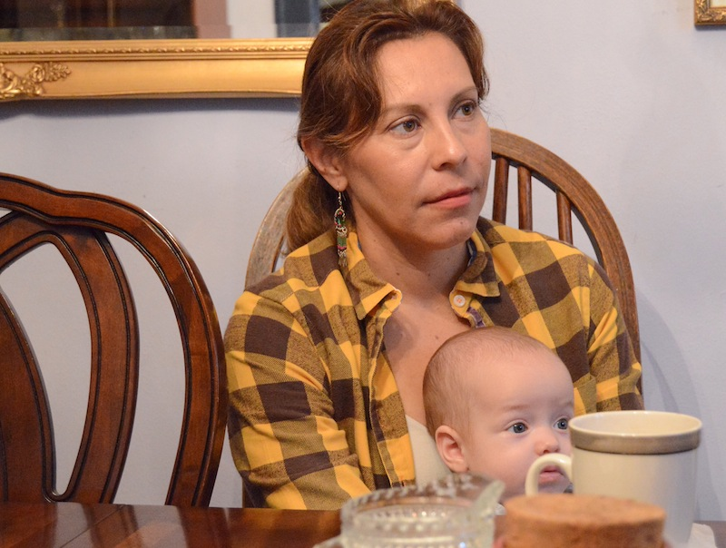 Former City Council member Shirley Gonzales (D5) holds her four-month-old son, Zachary Gonzales Barton, during an interview in 2015.