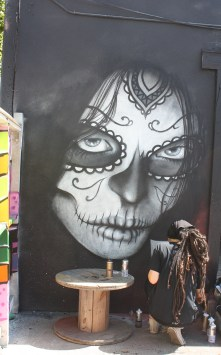 The San Antonio artist known as Nik Soupe works on finishing a mural at a paint festival located in Houston. Photo by Kay Richter.