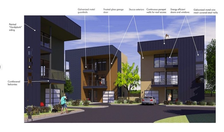 A rendering of the Sunglo Urban Homes. Image courtesy of Varga Endeavors.