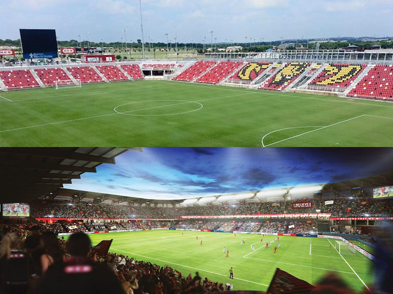(Top) a current photo of Toyota Field (bottom) a rendering that could be the future of the Toyota Field. Photos courtesy of the Scorpions FC and Toyota Field Facebook pages.