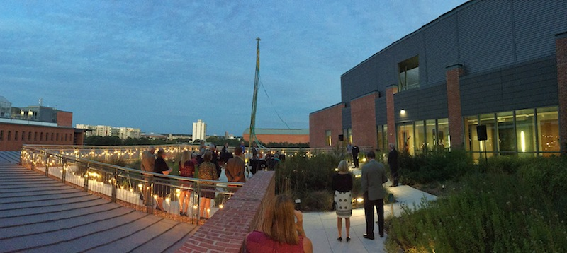 Supporters gather for the inaugural Trinity University Press Circle event on the rooftop of Trinity University's Center for Science and Innovation. Photo by Burgin Streetman.