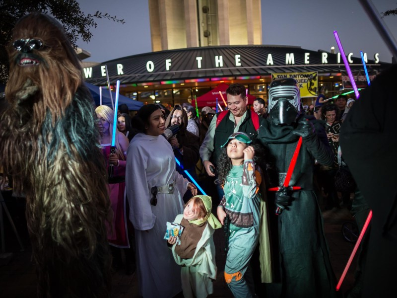 Star Wars fans prepare to walk to The Alamo from Hemisfair Park. Photo by Michael Cirlos.