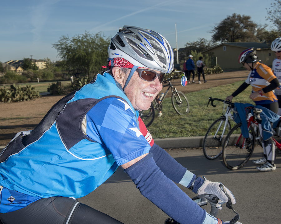 Robert Armstrong, 73, a former duathlon competitor, makes his way to the starting line. Photo by Matthew Busch.