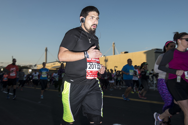 A man takes off from the starting line near the Alamodome. Photo by Matthew Busch.