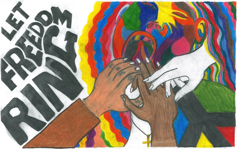 """""""Let Freedom Ring"""" was created by Amber Medina, a 14-year-old student at the Healy-Murphy Center in San Antonio. """"In a world of chaos and social injustice, in a world of inequalities where not all lives matter, my art titled 'Let Freedom Ring,' is a call to all to be on fire for freedom and justice for all,"""" Medina said."""