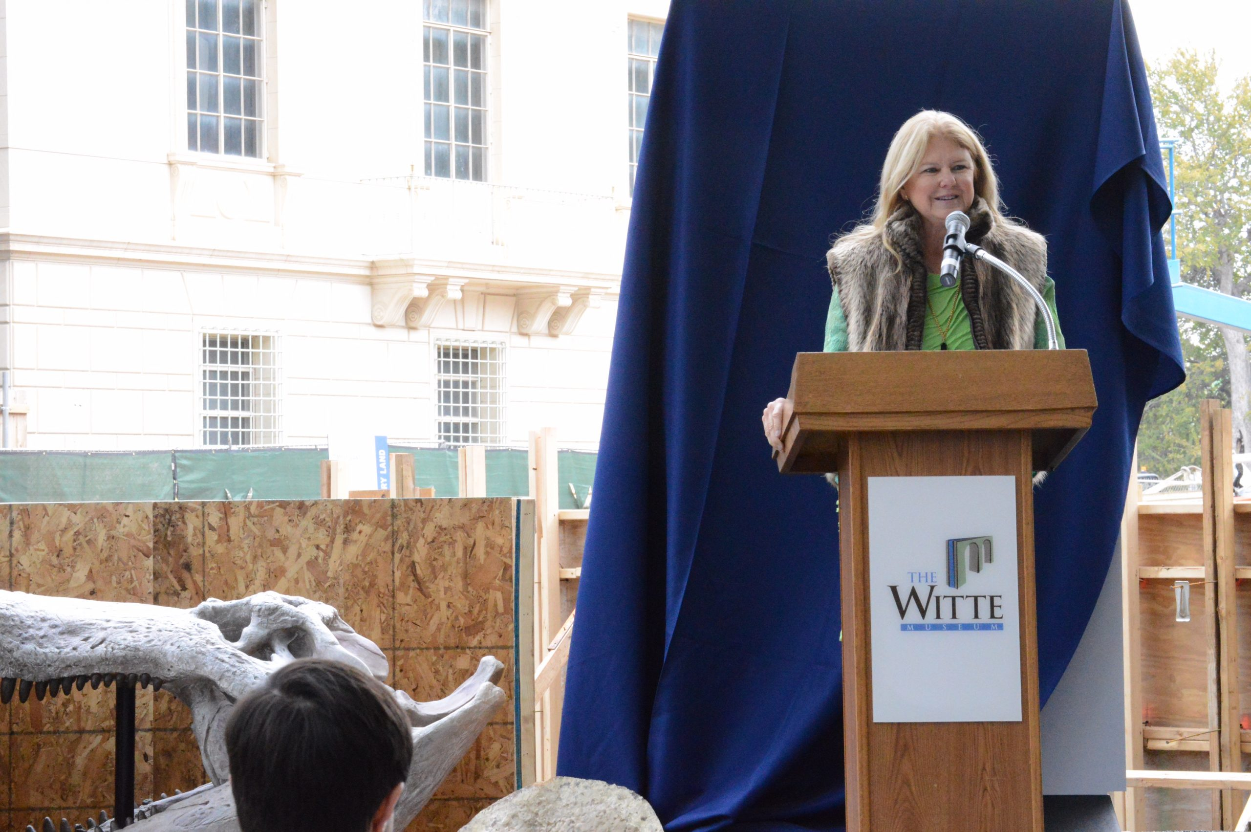 Susan Moulton, trustee of the Witte Museum and president of the Will Smith Foundation, talks about her decision to donate $4 million to the New Witte. Photo by Lea Thompson.