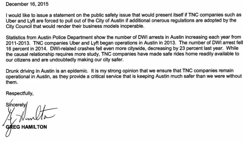 Screenshot of letter from Sheriff Greg Hamilton on why Austin needs rideshare. Photo Courtesy of Twitter/?@WalkerATX