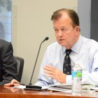 Councilman Joe Krier (D9) asks City and River Authority officials about construction leading up to 2018. Photo by Lea Thompson.