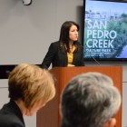 Lori Houston, director, Center City Development, introduces the San Pedro Creek Project updates to City Council. Photo by Lea Thompson.