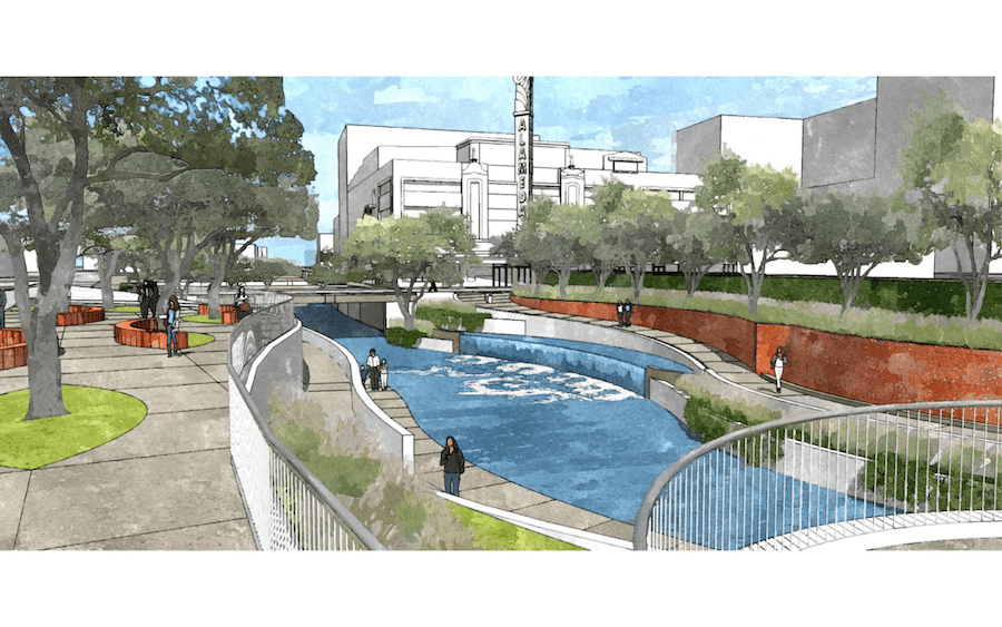 A section of the San Pedro Creek Improvements Project near the Alameda Theatre. Rendering courtesy of Muñoz & Co.