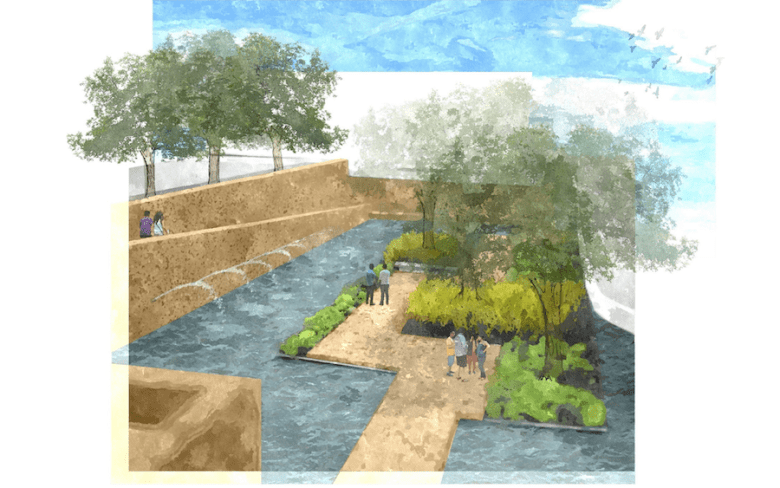 """The """"floating island"""" in a widened San Pedro Creek with the removal of the Dollar Store on West Commerce Street. Image courtesy of the San Antonio River Authority"""