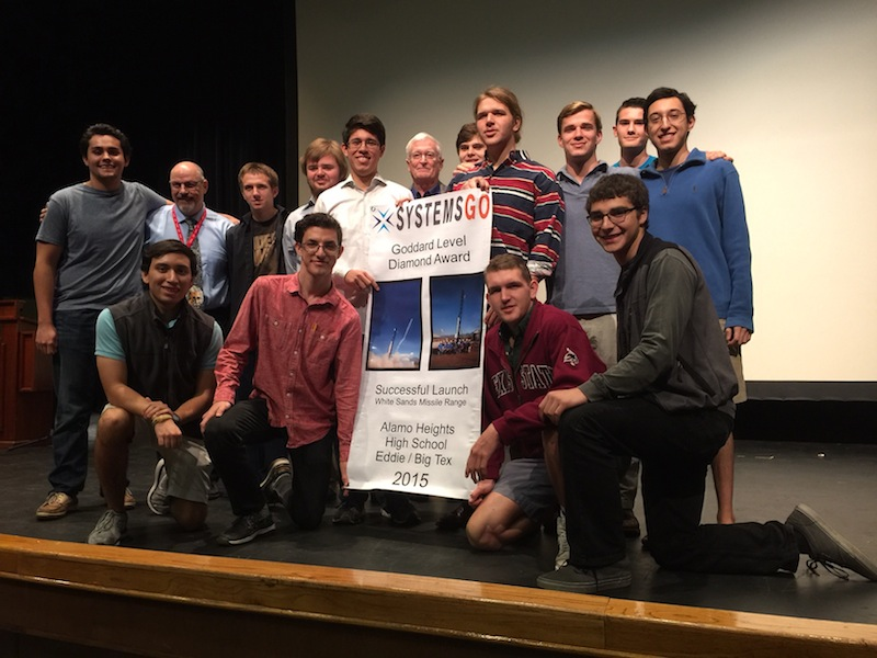 Former Alamo Heights High School rocketry students return to their alma mater to accept the Diamond Goddard Award from SystemsGo. Courtesy image.