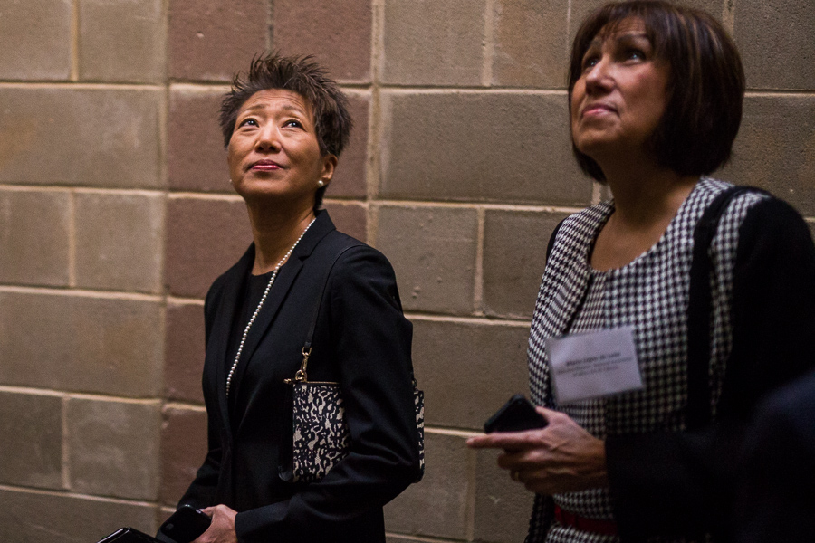 National Endowment of the Arts Chairman Jane Chu observes the back of house at the Carver Center with Executive Director of the National Association of Latino Arts & Cultures Maria López de León. Photo by Scott Ball.