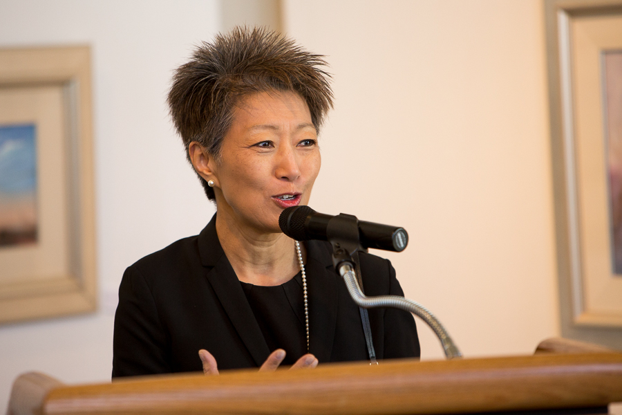 National Endowment of the Arts Chairman Jane Chu gives remarks at The Carver Community Cultural Center on the cities East side. Photo by Scott Ball.