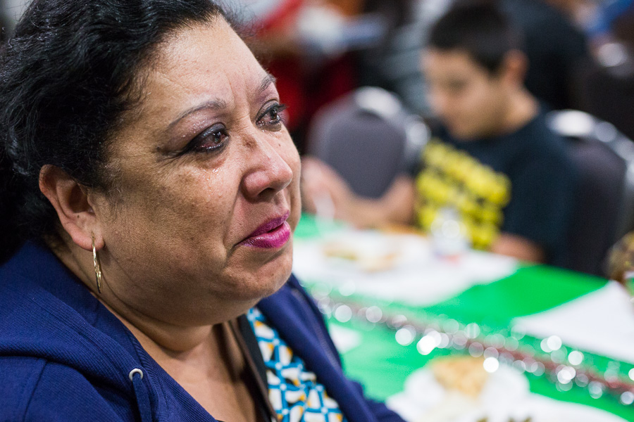Doris Sarabia sheds tears as she remembers her mother. Photo by Scott Ball.