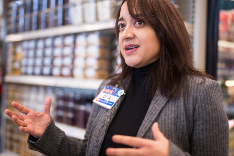 H-E-B Director of Public Affairs Dya Campos gives insight to the future of the South Flores Market. Photo by Scott Ball.