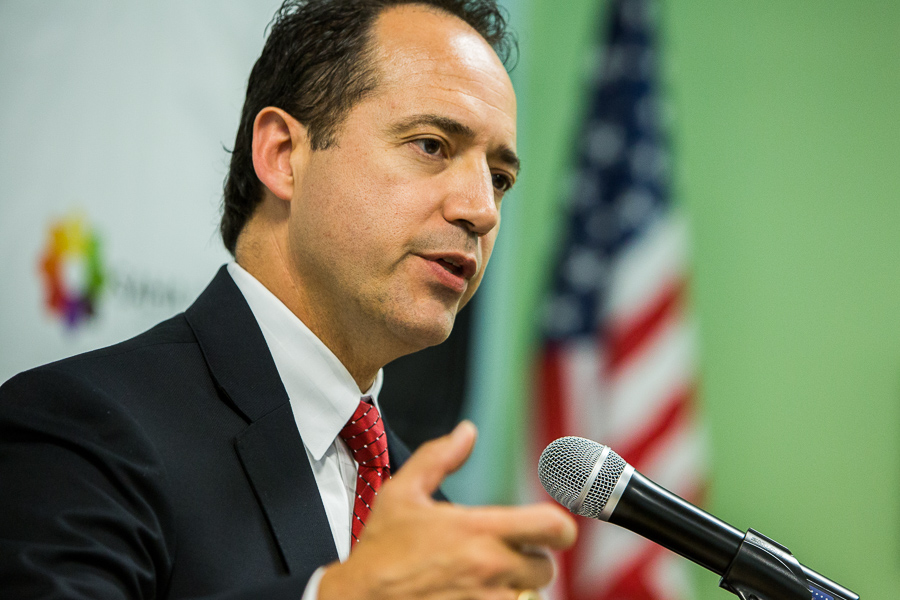 District 26 State Senator José Menéndez gives a speech during the event. Photo by Scott Ball.