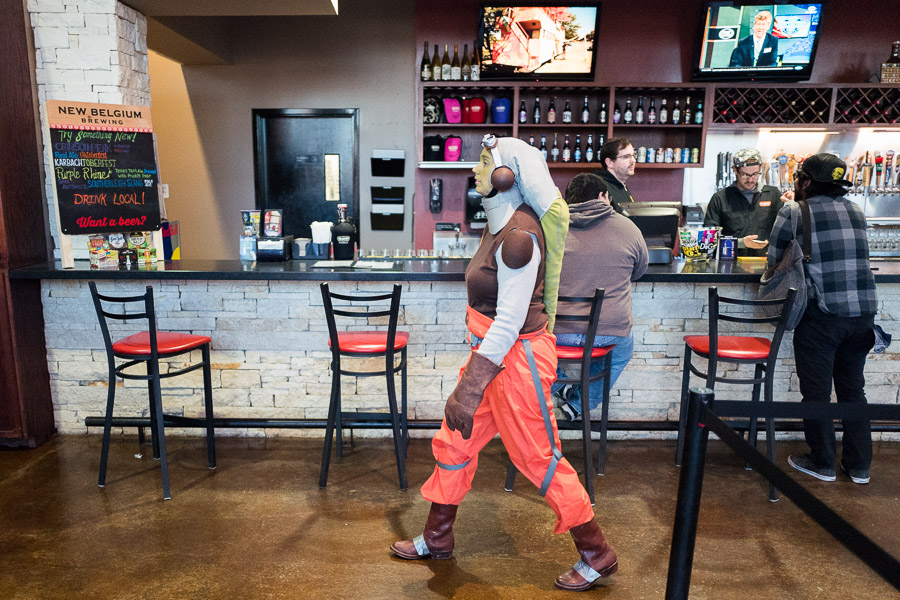 Kalyn Saucedo walks by the bar at Alamo Drafthouse. Photo by Scott Ball.