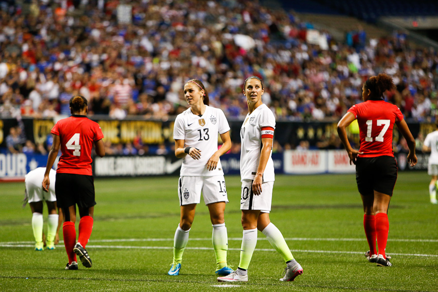 Alex Morgan (left) and Carli Lloyd look in disbelief after a goal was called offsides. Photo by Scott Ball.