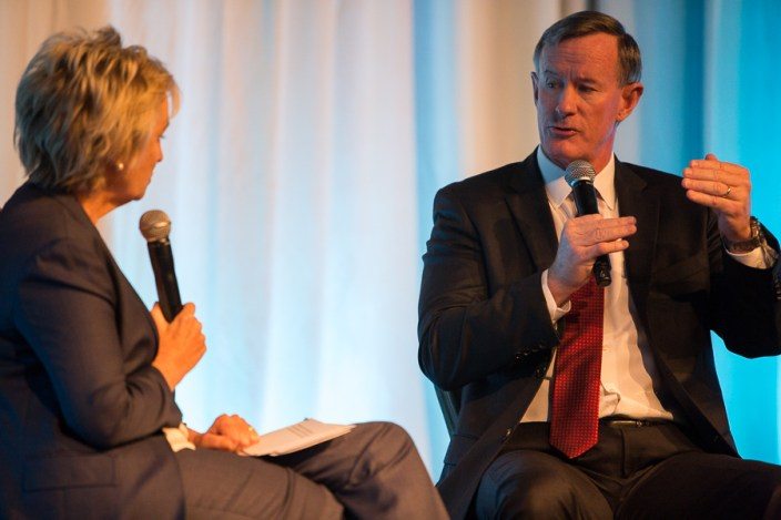 Retired U.S. Navy Admiral and Chancellor of the University of Texas William McRaven speaks with Tina Brown. Photo by Scott Ball.
