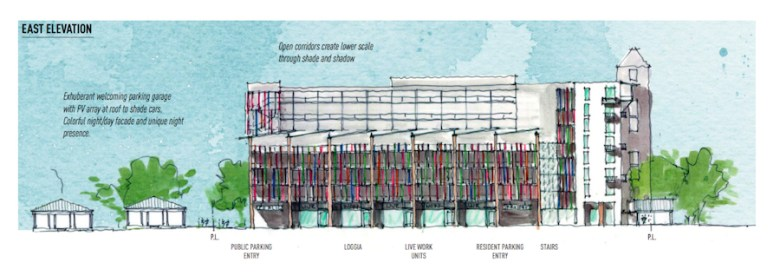A rendering featuring the Eastern view. Image courtesy of Hemisfair.