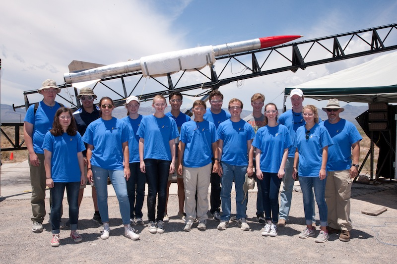 Alamo Heights High School rocketry students pose for a photo with their rocket at White Sands Missile Range. Courtesy image.