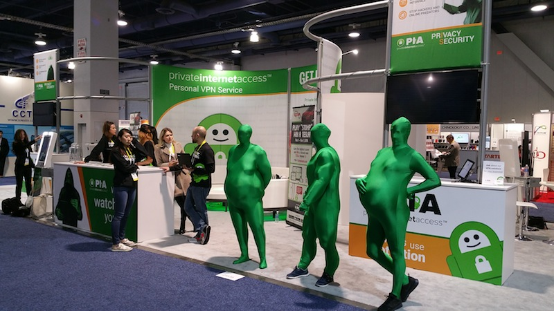 Private Internet Access show off their secure & private web browsing products with strange mascots during the 2016 International Consumer Electronics Show. Photo by Ben Tovar.