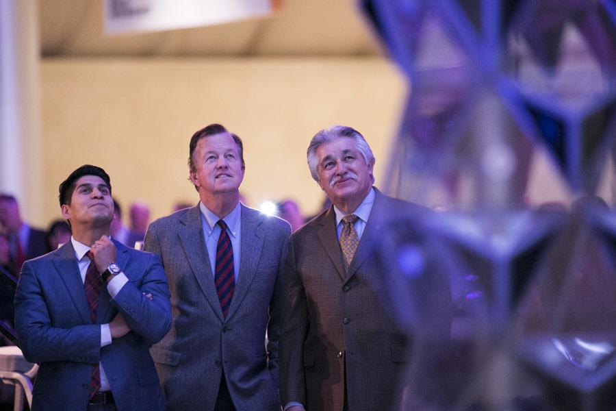 Council members Ray Saldana (D4), Joe Krier (D9), and Ray Lopez (D6) admire the new art. Photo by Kathryn Boyd-Batstone