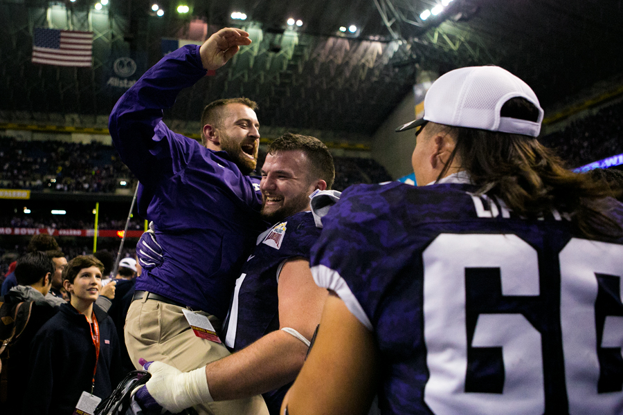 TCU team and fans, initially considered underdogs due to TCU quarterback Trevone Boykin's suspension, were ecstatic about the 2016 Alamo Bowl win. Photo by Kathryn Boyd-Batstone.