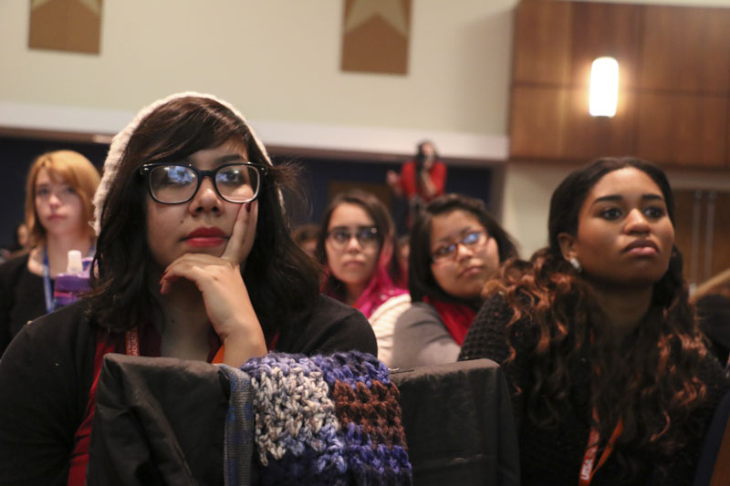 Students listening to the keynote speaker Ginger Kerrick at the Conferences for Undergraduate Women in Physics. Photo by Bria Woods.