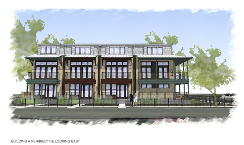 A rendering of the 10-unit structure part of the Cedar Street townhome project looking east. Courtesy of Alamo Architects.
