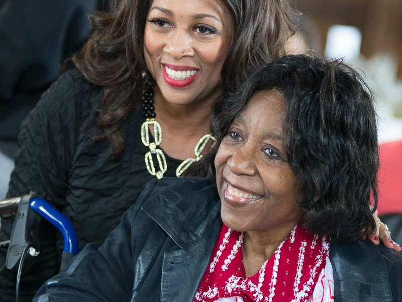 Ruth Jones McClendon poses for a photo with Cassandra Littlejohn. Photo courtesy of Clara Mitchell / DreamWeek.