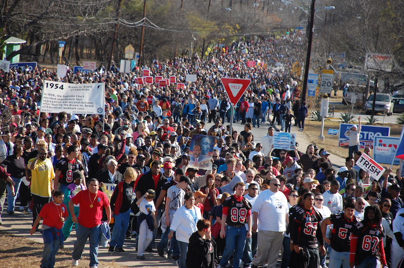 Crowds gathered to celebrate the largest MLK march in the nation on Martin Luther King Street. Photo by Lea Thompson.