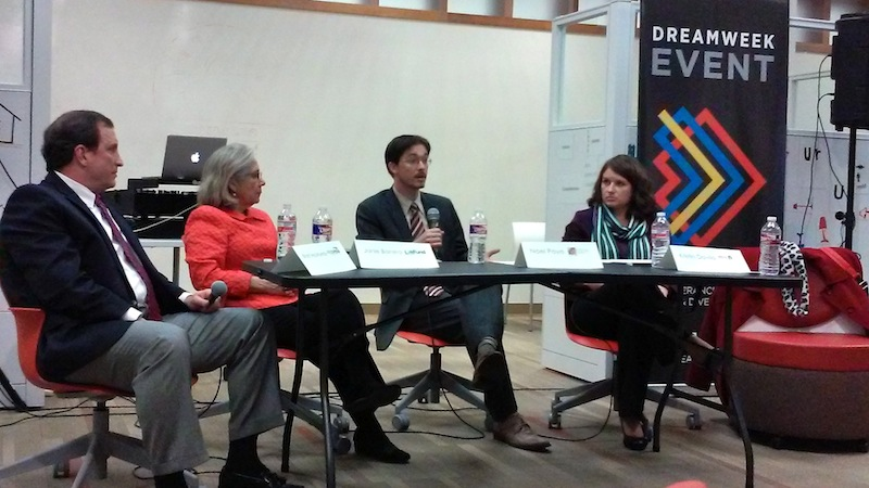 Noel Poyo (center) speaks during a DreamWeek panel discussion on equitable neighborhoods at Cafe Commerce on Monday. Photo by Edmond Ortiz.